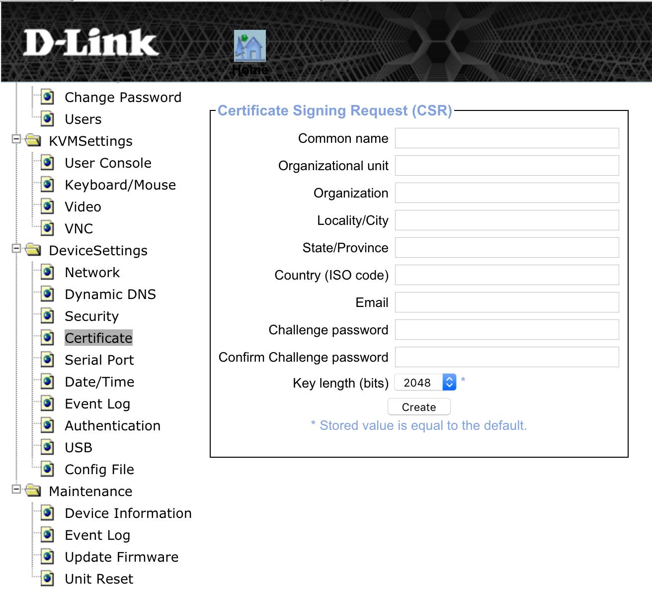DKVM-IP1 Certificate